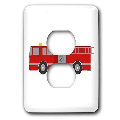 3dRose Janna Salak Designs Kids Stuff - Red Firetruck - Light Switch Covers - 2 plug outlet cover (lsp_274315_6)