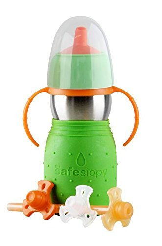 Kid Basix by New Wave Safe Sippy 2-Baby & Toddler Stainless Steel 2-in-1 Cup with Sippy&Straw, Green