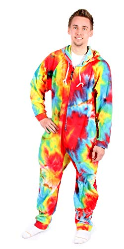 Forever Lazy Detachable Feet Adult Onesie - Tie Dye - M -