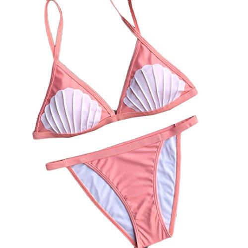 LANDFOX Mujeres Manual Push-Up Bra acolchado Beach Halter bikini Set Swimsuit Swimwear Rosado
