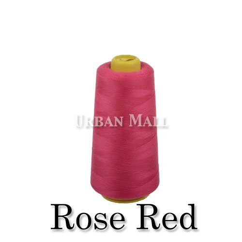 - 6000 Yards Rose Red Sewing Thread All Purpose 100% Spun Polyester Spools Overlock Cone (Upholstery, Canvas, Drapery, Beading, Quilting)