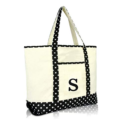 DALIX Initial Tote Bag Personalized Monogram Black Star Zippered Top Letter - ()