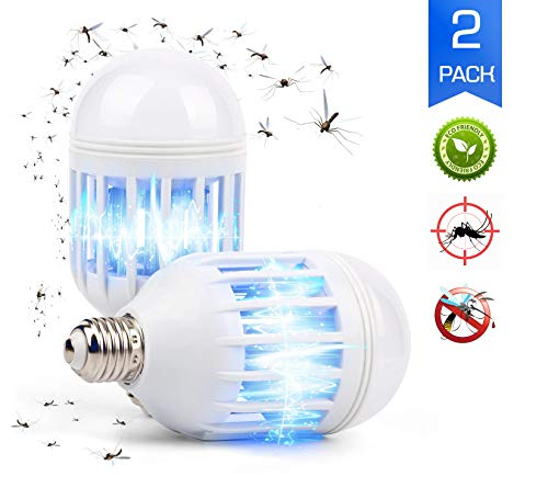 ARAGON Bug Zapper LED Light Bulb, 2 in 1 Pest Repellent, Mosquito Fly Killer Lamp, Electronic Insect Trap for Home Indoor Outdoor Porch Patio Garden, 12w, 110V, Pack of 2