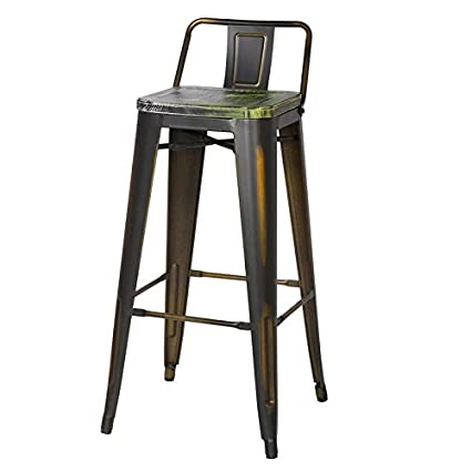 Pleasant Adeco 2016 New 30 Inch Industrial Chic Metal Barstool With Half Green Wooden Seat Low Back Black Set Of Two Andrewgaddart Wooden Chair Designs For Living Room Andrewgaddartcom