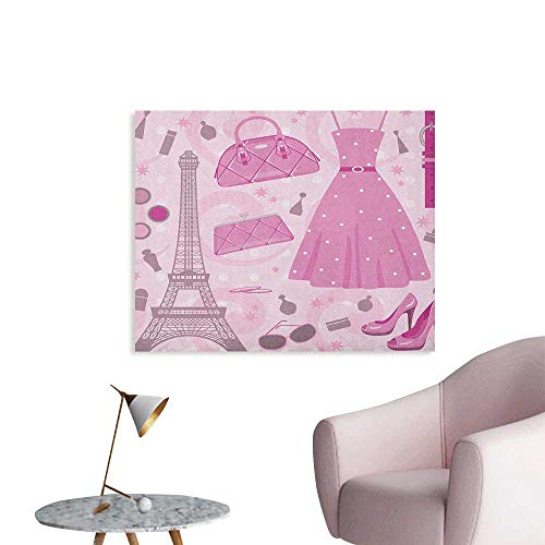 Anzhutwelve Heels and Dresses Painting Post Paris Fashion Atelier French Boutique Feminine Glamor Eiffel Wall Poster Baby Pink Mauve Magenta W36 -