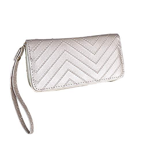 LiLiMeng Fashion Women Retro Pure Color Stripe Long Wallet Coin Purse Card Holder -