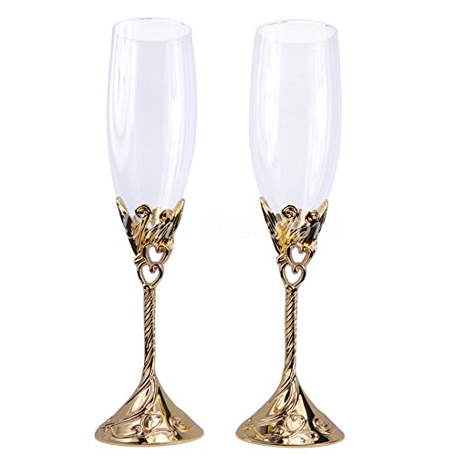 Unik Occasions Hearts Wedding Toasting Flutes/Champagne Glasses in Gold