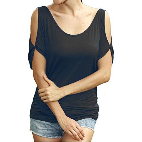 Zhhlinyuan Moda Ladies Short Sleeve Tops Strapless Loose Round Collar Strapless T-shirt para Women Black