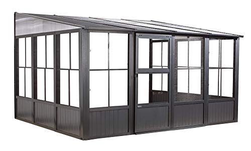 (Sojag Outdoor 10' x 13' Charleston Solarium Wall-Mounted Sunroom with Mosquito Nets, Dark Grey)