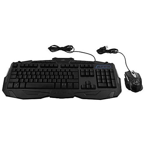 Amazon.com: DealMux ajustável LED Três Cores Back Light Wired Gaming USB Teclado Mouse Set Preto: Electronics