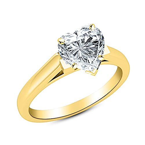 0.46 Ct Heart Cut Cathedral Solitaire Diamond Engagement Ring 14K Yellow Gold (H Color SI1 Clarity) ()