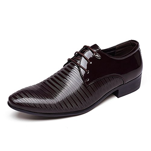 DEARWEN Mens Classic Pointed Toe Oxford Business Dress Shoes Dark Brown