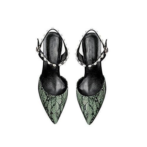 Color Hadas Gruesa Sandalias De Femeninas Moda Mujeres Tomar Nuevas Palabra Altos Sexy con Zapatos De Hechizo Encaje De Jóvenes Femenina Una Zapatos Tacones YUBIN Hebilla 7qPwtxaw