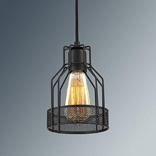 YOBO Lighting Industrial Edison Antique Black Wire Cage Pendant Light
