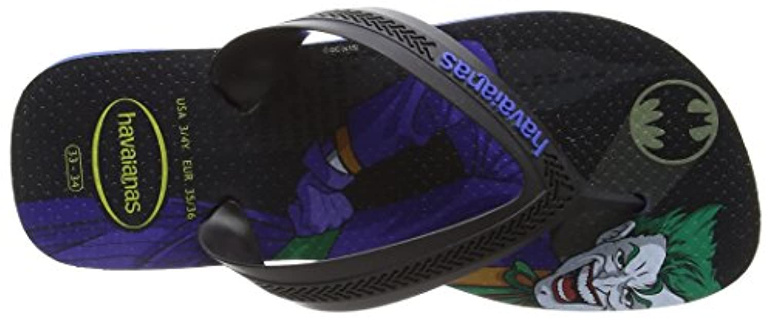 Havaianas Max Herois, Boys' Flip Flops, Black (Black/Blue Star 3768), 1 Child UK (35/36 EU)