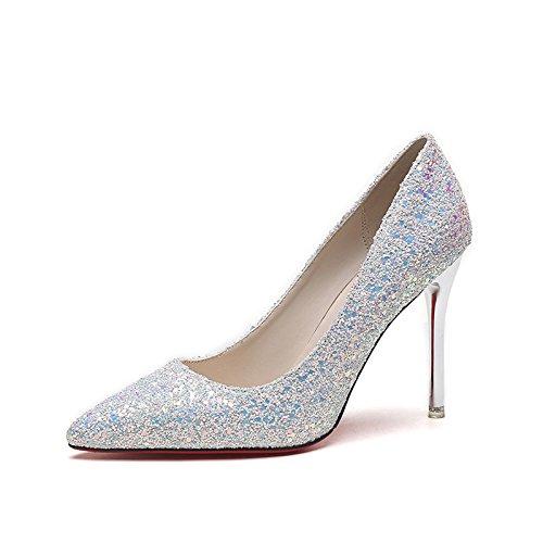 Chaussures Raffins Shoes Hauts 37 Avec Silver Tip De Mariage Lady Restaurants Sauvages Noires Talons w8RwqYrxZT