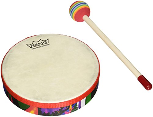 REMO Drum, KIDS PERCUSSION, Hand Drum, 6'' Diameter, 1.25'' Depth, Fabric Rain Forest by Remo