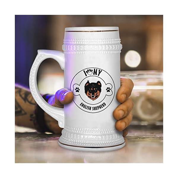 Custom Beer Mug I Love Paw My English Shepherd Dog Ceramic Drinking Glasses Beer Gifts White 18 OZ Design Only 4