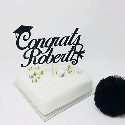 (Personalised Graduation Cake Topper.Congrats Name Cake Topper With Cap And Scroll. Name Grad Cake Topper. Graduation Party Decor.)