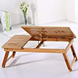 Hotcl Clearance Adjustable Laptop Desk,100% Bamboo Foldable Breakfast Serving Bed Tray w' Tilting Top Drawer (Yellow)
