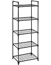 SONGMICS rekkensysteem met 5 legborden, metalen legbord, hoeklegbord, plantenlegbord, elk legbord kan tot 8 kg dragen, keuken, kantoor, garage, 55 x 35 x 158 cm, zwart LST05BK