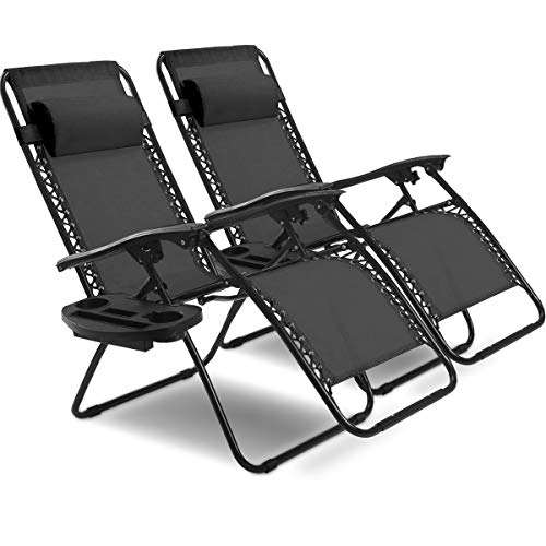 Goplus 2PC Zero Gravity Chairs Lounge Patio Folding Recliner Outdoor Yard Beach with Cup Holder Black