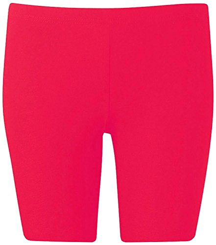 New Womens Plus Size Over Knee Plain Jersey Cycling Shorts ( Cerise , 1X )