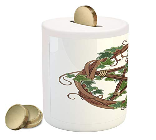 Ambesonne Pentacle Piggy Bank, Vine Wreath with Ivy on Intertangled Twigs Forming Pentagram, Printed Ceramic Coin Bank Money Box for Cash Saving, Olive Green Jade Green and - Twig Ivy