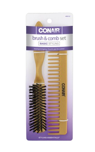 Conair Simulated Wood Thumb Grip Nylon Volume Comb Set