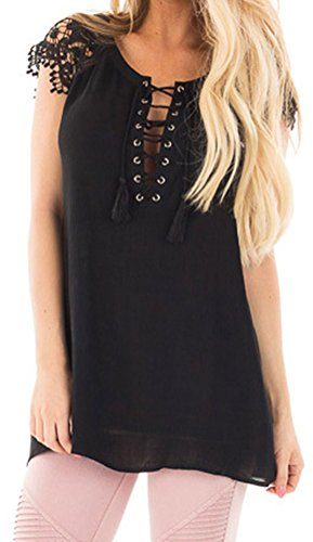 DH-MS Deck out Women's Black Loose Short Sleeves Lace up Front Tunic Top Casual T-Shirts