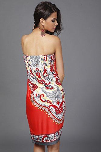 Wander Agio Mujer Impresión De Porcelana China Top Vestido Playa Sin Mangas cover-up Rojo sandía