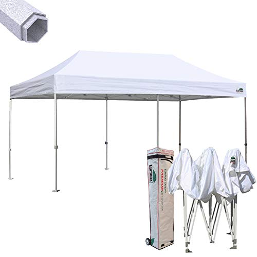 Commercial Shelter - Eurmax New 10 by 20 feet Ez Pop up Canopy Instant Tent Wedding Shade Shelter Commercial Grade Bonus Wheeled Bag (White)