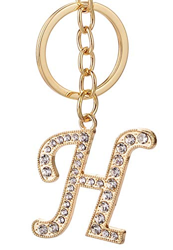 - Keychain for Women AlphaAcc Purse Charms for Handbags Crystal Alphabet Initial Letter Pendant with Key Ring,Letter H