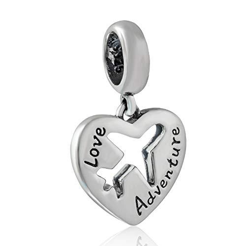 Sterling Silver Airplane - Airplane Charm 925 Sterling Silver Plane Charm Travel Charm Heart Charm for Pandora Charm Bracelet