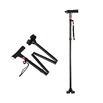 Secure Foldable Walking Cane with Built-in LED Light Alarm Red Flashlight for Old Gentleman or Lady