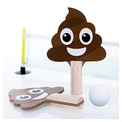Master Toy Smiling Poo Pong Natural Brown 25 x 3 Wood Pong Game Set Paddles Ball Net