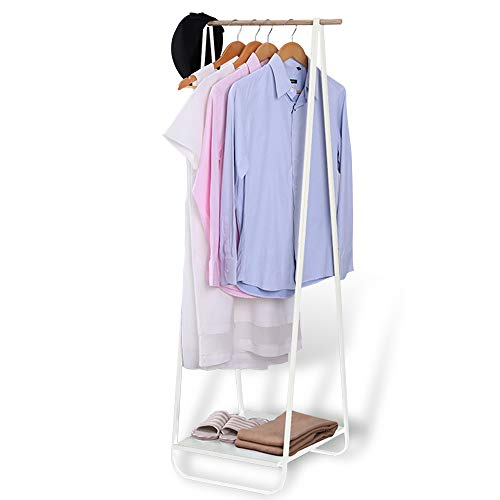 (JEFEE Compact Clothes Rack Simple Garment Racks with Shelf 1-Tier Coat Clothing Organizer Storage for Hats Bags Shoe for Entryway Bedroom Dorm Pool, L21.3xW18.3X H55.1 inch, White)
