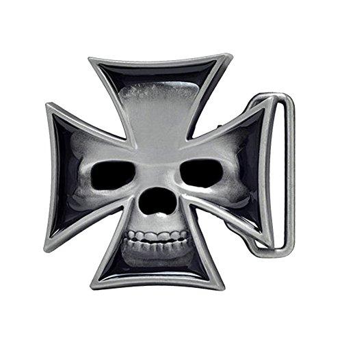 Pewter Biker Belt Buckle (Iron Cross Skull 3D Belt)