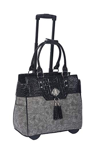 JKM and Company The Savannah Gray & Black Alligator Faux Leather Compatible with Computer iPad, Laptop Tablet Rolling Tote Bag Briefcase Carryall Bag ()