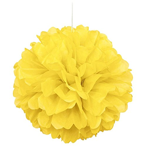 10pcs Yellow Tissue Hanging Paper Pom-poms, Hmxpls Flower Ball Wedding Party Outdoor Decoration Premium Tissue Paper Pom Pom Flowers Craft Kit