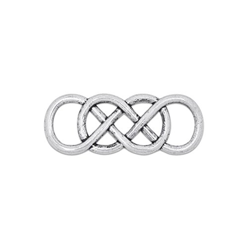 Letter 8 Double Infinity Symbol Connector Charms Connector Link Pendant Pack of 20 (Antique ()