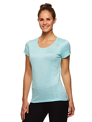 - Reebok Women's Dynamic Fitted Performance Short Sleeve T-Shirt - Dyna Island Paradise Heather, X-Small