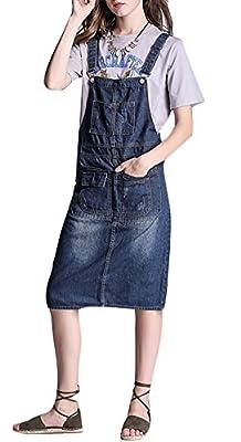 Plaid&Plain Women's Slim H Line High Waist Denim Bib Overall Dress Suspender Skirt Dress