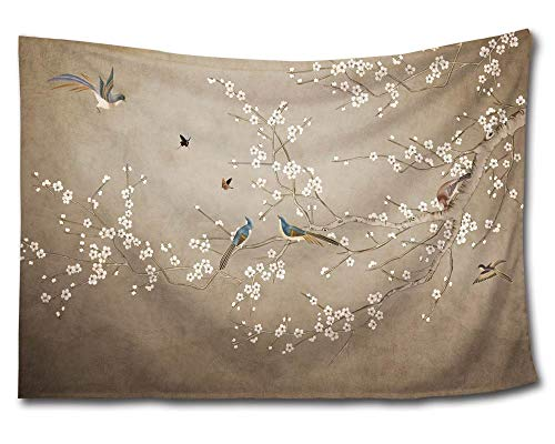 HMWR Plum Blossom Wintersweet Tapestry Wall Hanging Pied Magpie Birds Cotton Mandala Hippie Tapestry Art Traditional Chinese Painting Collage Dorm Beach Throw Wall Decor 60
