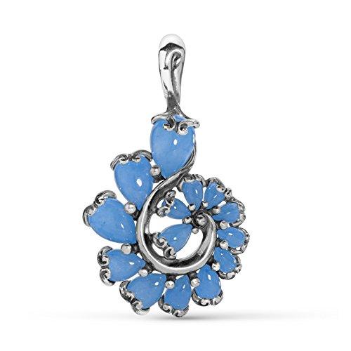 Carolyn Pollack Sterling Silver Blue Jade Gemstone Cascading Swirl Pendant Enhancer