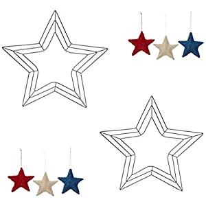 2-18 inch Star Shaped Green Metal Wreath Frames with Bonus 3 Patriotic Sisal Star Ornaments: Red/White/Blue 27