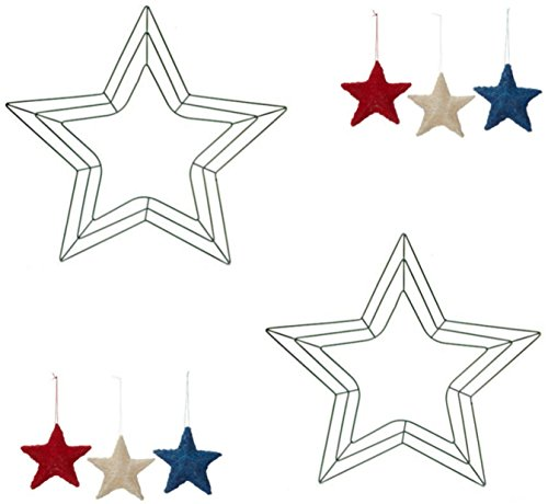 2-18 inch Star Shaped Green Metal Wreath Frames with Bonus 3 Patriotic Sisal Star Ornaments: Red/White/Blue