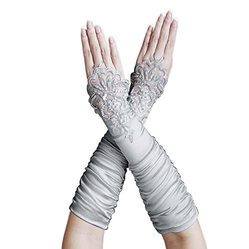 ZaZa Bridal Gathered Satin Fingerless Gloves w/Floral Embroidery Lace & Sequins-Silver