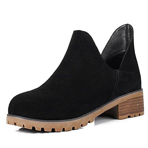 DecoStain Women's Cow Suede Leather Nubuck Slip-On Low Heel Ankle Boots Black WltVktWiR
