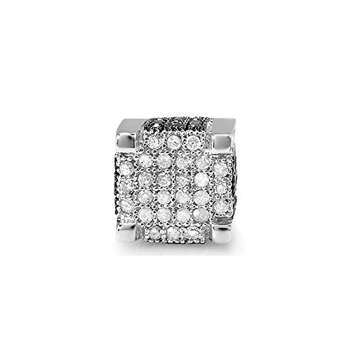 0.49 Carat (ctw) 14K White Gold Black And White Diamond Mens Hip Hop Stud Earring 1/2 CT (1pc) by DazzlingRock Collection
